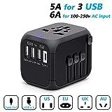 Adaptador de Viaje Universal, Adaptador Enchufe con 3 Puertos USB y 1 x Cargador Tipo-C para US EU AU de 150 Países