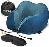 HOMIEE Almohada Cuello de Caracol 100% Viaje Memoria, diseñada ergonómicamente, Transpirable y extraíble, con máscara 3D...