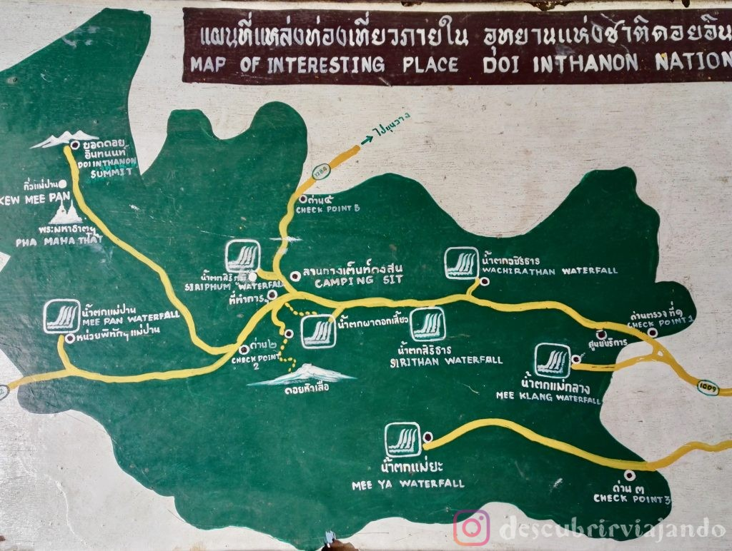 Mapa Doi Inthanon, Doi Inthanon map
